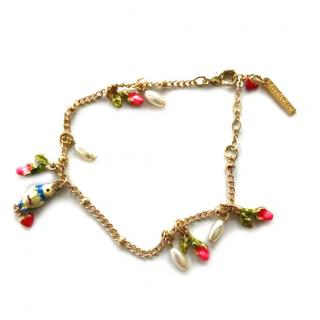 Les Nereides French glazed vintage bird and flower bracelet