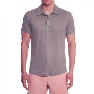 Orlebar Brown Sebastian grey tailored-fit linen polo shirt