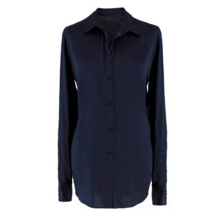 Joseph Navy Silk Satin Shirt