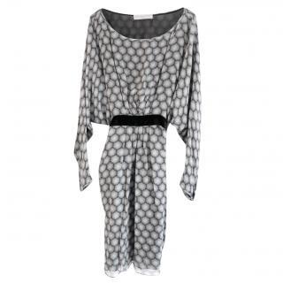 Stella McCartney Dandelion Silk Sleeve Velvet Sash Dress