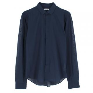 Valentino navy cotton single-cuff shirt