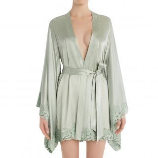 La Perla Azalea silk-blend satin kimono robe