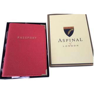 Aspinal Coral leather passport cover