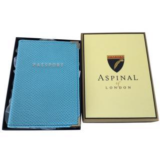 Aspinal blue lizard print passport cover .