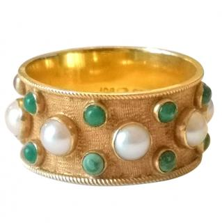 Vintage Etruscan Pearl & Jade 18ct Gold Band Ring