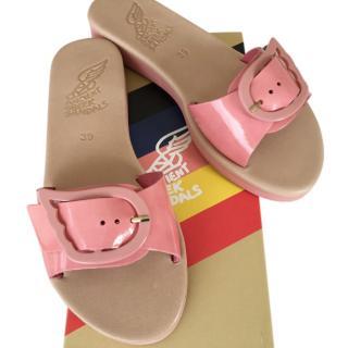 Ancient Greek Sandals Aglaia Pink Leather Slides