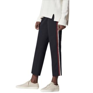 Me + Em navy side-striped cropped trousers