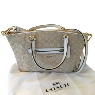 Coach signature coated canvas and leather satchel bag