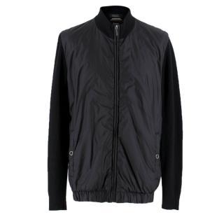 Boss Hugo Boss black nylon-panel zip-through jacket