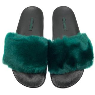 Dolce & Gabbana Green Rabbit Fur Slides