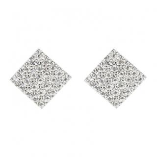 Alessandra Rich Square Crystal Clip Earrings