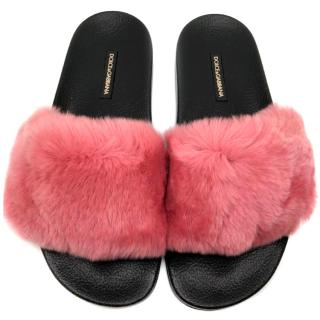 Dolce & Gabbana Pink Rabbit Fur Slides