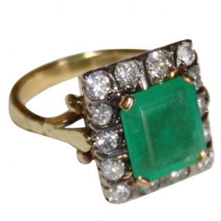 5.5 Carats Bespoke Emerald & Diamond Yellow Gold 18k Ring