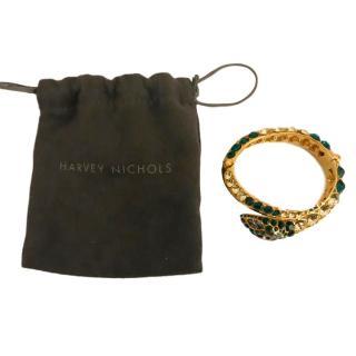 Roberto Cavalli snake bracelet - green and gold