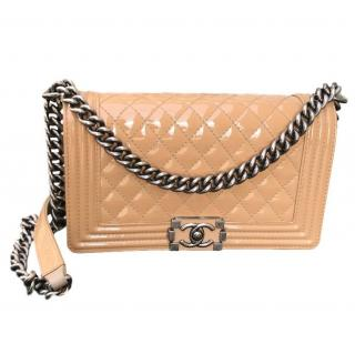Chanel medium patent beige boy bag