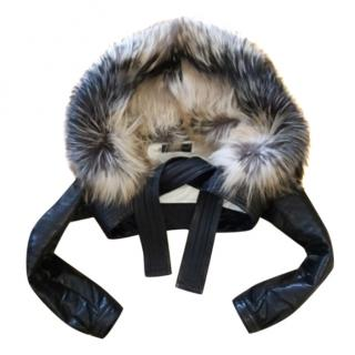 Dsquared leather jacket with fox fur collar