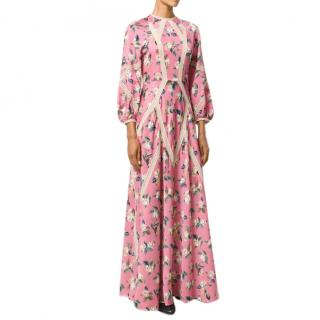 Vilshenko Floral Print Silk & Wool Dress
