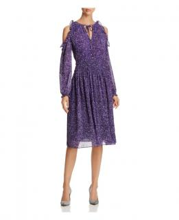 MichaelMichael  Kors Ruffle Cold Shoulder Midi Dress