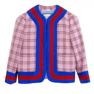 Gucci PF16 Pink Metallic Tweed Web Trim Jacket