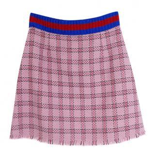 Gucci PF16 Pink Metallic Tweed Web Trim Skirt