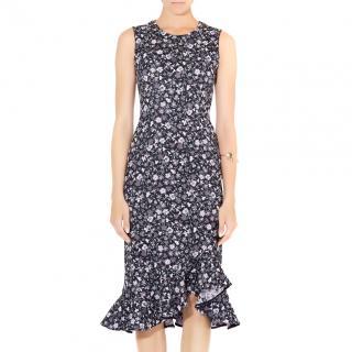Erdem Louisa Floral Stretch Jacquard Ruffle Hem Dress