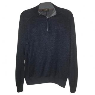 Loro Piana Mezzocollo Vicuna Blue High-Neck Sweater