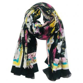 Dolce & Gabbana black floral-print silk scarf