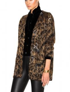 Saint Laurent Oversized Leopard Mohair Jacquard Cardigan
