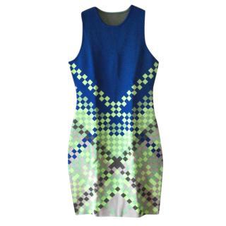 Alexander Wang Fitted Green & Blue Mini Dress