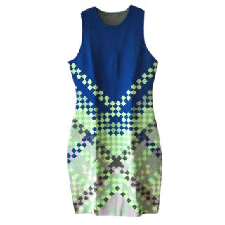 Alexander Wang Fitted Green & Blue Mini Dress