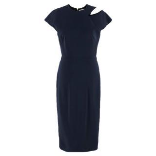 Victoria Beckham Navy Cut Out Fitted Dress
