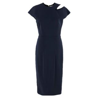 Victoria Beckham Navy Cut Out Fitted Dress