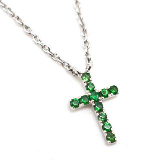 Pia Hallstrom 18k White Gold & Garnet Cross Pendant Necklace