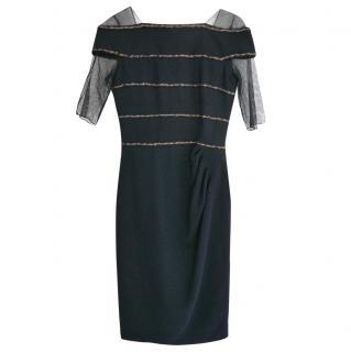 76633f98b89 Chanel PF10 Paris-Shanghai Navy  Chain  Trim Tulle Sleeve Dress