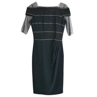 Chanel PF10 Paris-Shanghai Navy 'Chain' Trim Tulle Sleeve Dress