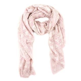 Janavi Pink Cashmere Embroidered Shawl