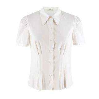 Prada short-sleeved white cotton-blend poplin blouse