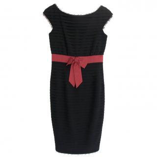 Chanel PF12 Paris-Bombay Black Tiered Wool Red Bow Waist Dress