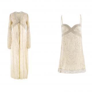 La Perla Yellow Silk & Lace Slip and Dressing Gown Set