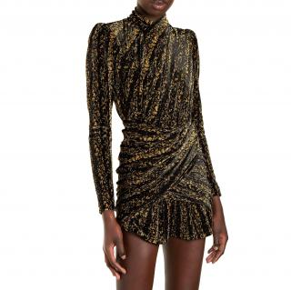 Balenciaga gold and black velvet dress