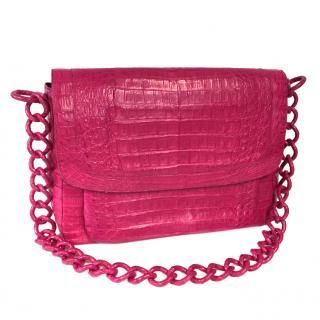 Nancy Gonzalez pink crocodile shoulder bag
