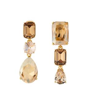 Oscar De La Renta Gold Crystal Drop Asymmetric Earrings