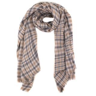 Bespoke large checked scarf