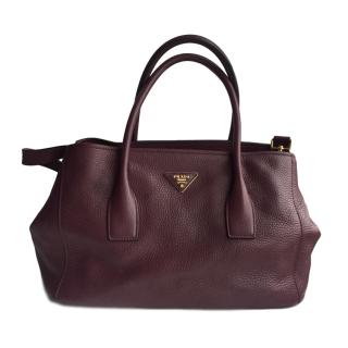 Prada Burgundy Leather Tote Bag