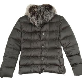 Prada down puffer jacket W/ fox fur trim