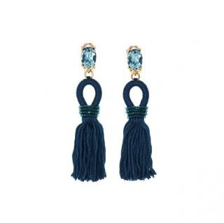 Oscar De La Renta Blue Crystal Silk Tassel Earrings