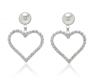 Alessandra Rich Large Pearl Crystal Heart Clip Earrings