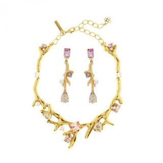 Oscar De La Renta Vintage Rose Swarovski Necklace & Earrings Set