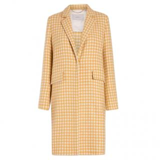 Marella Yellow Check Wool Blend Coat