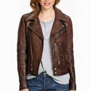 Polo Ralph Lauren Asta Burnished Brown Leather Jacket